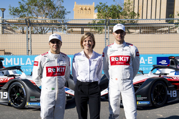 Felipe Massa (BRA), Venturi, EQ Silver Arrow 01, Susie Wolff, Team Principal, Venturi and Edoardo Mortara (CHE) Venturi, EQ Silver Arrow 01