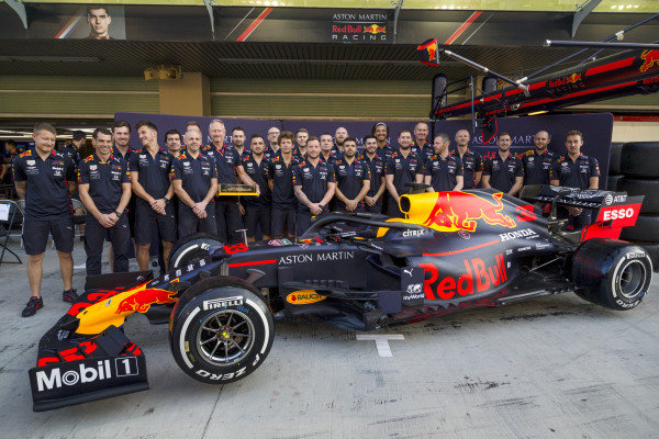 The Red Bull Racing team celebrate with the DHL Fastest Pit Stop award