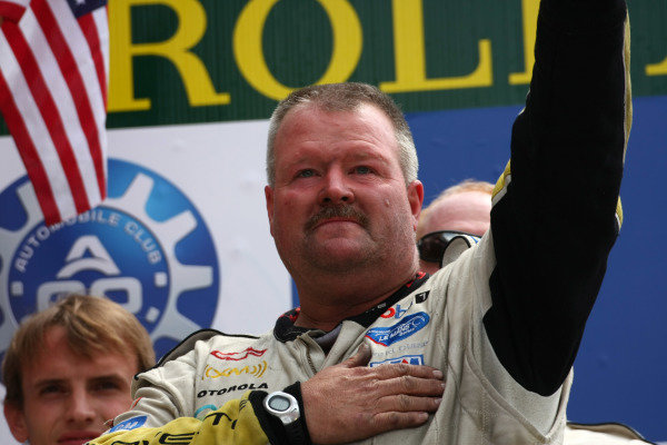 Circuit de La Sarthe, Le Mans, France.8th - 14th June 2009. Dan Binks, Crew Chief, Team Corvette Racing, on the podium. Portrait. Podium. World Copyright: Kevin Wood/LAT Photographic Photographic Ref: IMG_7214 JPG