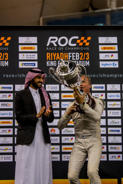 2018 Race Of Champions King Farhad Stadium, Riyadh, Abu Dhabi. Saturday 3 February 2018 Winner David Coulthard (GBR) is presented with his trophy. Copyright Free FOR EDITORIAL USE ONLY. Mandatory Credit: 'Race of Champions'