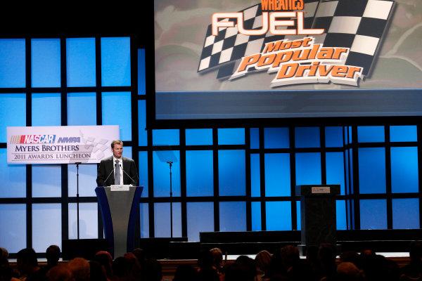 30 November - 2 December, 2011, Las Vegas, Nevada, USADale Earnhardt Jr. accepts Most Popular Driver Award(c)2011, Michael L. LevittLAT Photo USA