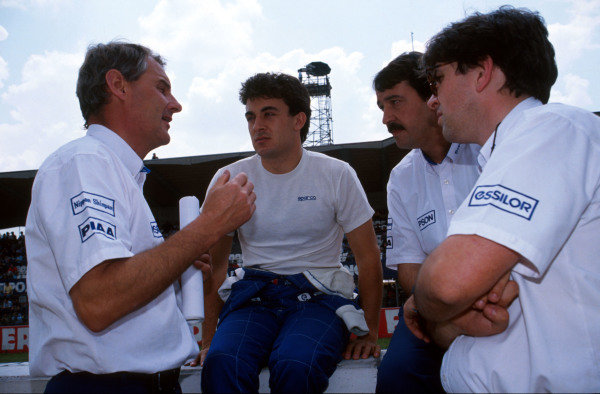 L to R: Harvey Postlethwaite (GBR) Tyrrell Designer, Jean Alesi (FRA) Tyrrell Cosworth 018 and Joan Villadelprat (ESP) Tyrrell Team Manager San Marino Grand Prix, Imola, 13 May 1990