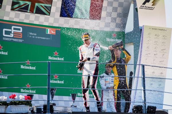 2017 GP3 Series Round 6.  Autodromo Nazionale di Monza, Monza, Italy. Sunday 3 September 2017. Jack Aitken (GBR, ART Grand Prix), George Russell (GBR, ART Grand Prix), Anthoine Hubert (FRA, ART Grand Prix).  Photo: Zak Mauger/GP3 Series Media Service. ref: Digital Image _56I8934