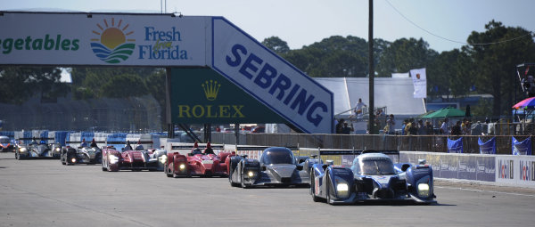 14-19 March 2011. Sebring, Florida USA#8 Peugeot Sport Total Peugeot 908 paces field during full course yellow.©2011 Dan R. Boyd LAT Photo USA