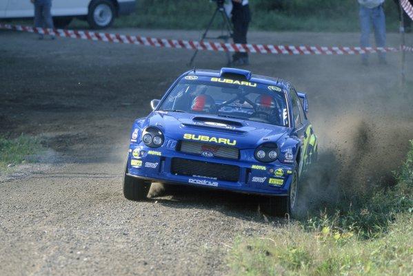 2001 World Rally Championship.1000 Lakes Rally, Finland. 23-26 August 2001.Richard Burns/Robert Reid (Subaru Impreza WRC), 2nd position.World Copyright: LAT PhotographicRef: 35mm transparency 01RALLY15