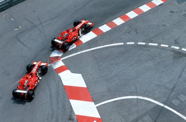 2005 Monaco Grand PrixMonte Carlo, Monaco. 19th - 22nd May Rubens Barrichello, Ferrari F2005 leads team mate Michael Schumacher, Ferrari F2005. Action. World Copyright: Steven Tee/LAT Photographi--c ref: 35mm Image 05Monaco40
