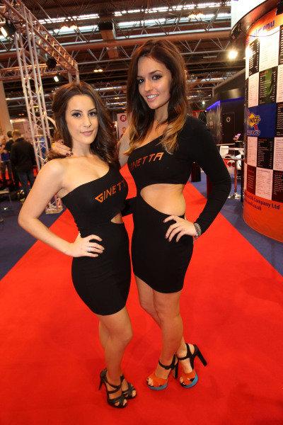Ginetta girls. Autosport International Show, NEC, Birmingham, England, Day Two, 10 January 2014.