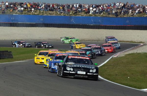 Marcel Fassler  (GER) Warsteiner AMG Mercedes CLKleads the field and won the qualifying race.