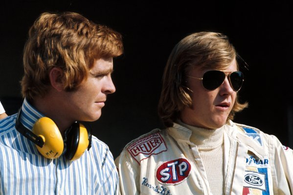 Max Mosley(GBR) left and Ronnie Peterson(SWE)1971