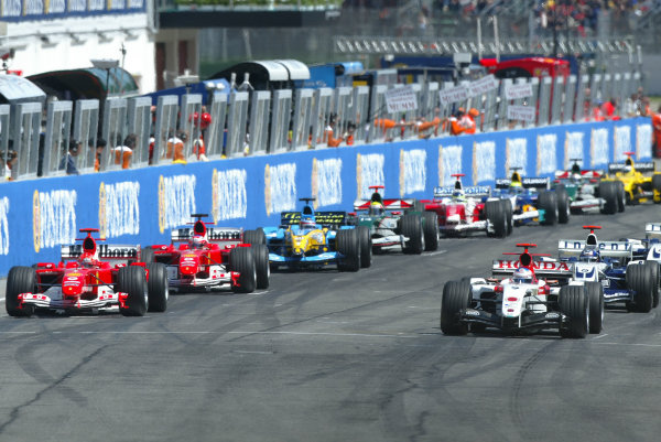 2004 San Marino Grand Prix-Sunday Race,Imola, Italy. 25 April 2004.Adrenalin pumps as the grid waits for the red lights to go out for the start of the race.World Copyright: LAT Photographic.Ref: Digital Image only.