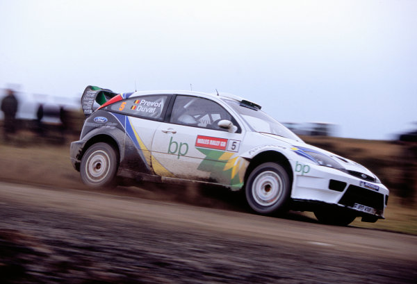 2003 World Rally ChampionshipRally of Great Britain, Wales. 6th - 9th November 2003.Francois Duval / Stephane Prevot, Ford Focus_RS WRC 03, Action.World Copyright: McKlein/LATref: 35mm Image WRC_GB_05 jpg