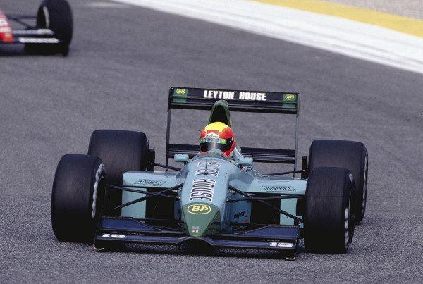 1991 Portuguese Grand Prix.Estoril, Portugal.20-22 September 1991.Mauricio Gugelmin (Leyton House CG911 Ilmor) 7th position.Ref-91 POR 18.World Copyright - LAT Photographic