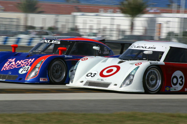 January 7-9, 2005, Daytona International Speedway The No. 74 74 Ranch Resor Lexus Riley, with drivers George Robinson, Wally Dallenbach, Paul Dallenbach & Johnnie Unser leads the Target-Chip Ganassi Racing Lexus Riley (03) of Casey Mears, Scott Dixon and Darren Manning -2005, GREG ALECK, LAT Photographic