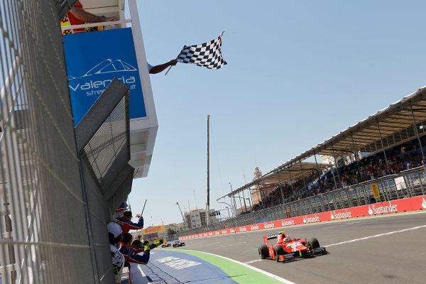 Valencia Street Circuit, Valencia, Spain.  24th June 2012. Sunday Race. Luiz Razia (BRA, Arden International) crosses the line to take victory. Action. Photo: Andrew Ferraro/GP2 Media Service. Ref: Digital Image _Q0C9893.jpg
