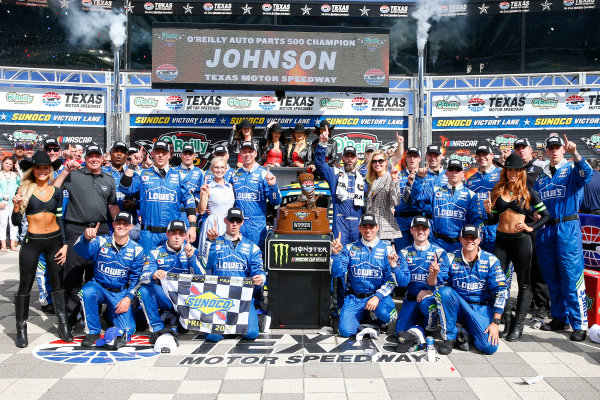 2017 Monster Energy NASCAR Cup Series O'Reilly Auto Parts 500 Texas Motor Speedway, Fort Worth, TX USA Sunday 9 April 2017 Jimmie Johnson celebrates in victory lane  World Copyright: Russell LaBounty/LAT Images ref: Digital Image 17TEX1rl_5283