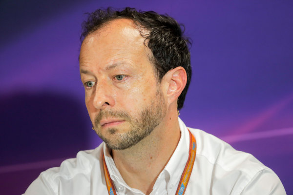 Monte Carlo, Monaco. Friday 26 May 2017. Peter Bayer, FIA Secretary General for Motor Sport at the F1 Motorsport Network Global Fan Survey Press Conference. World Copyright: Zak Mauger/LAT Images ref: Digital Image _54I5947