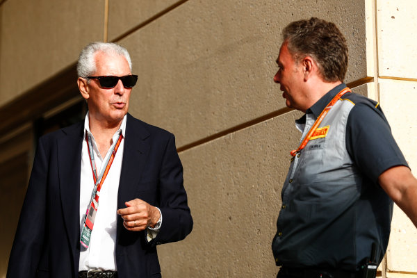 Bahrain International Circuit, Sakhir, Bahrain.  Sunday 16 April 2017. Marco Tronchetti Provera, Executive Vice Chairman and Chief Executive Officer, Pirelli, with Mario Isola, Racing Manager, Pirelli Motorsport. World Copyright: Sam Bloxham/LAT Images ref: Digital Image _J6I1890