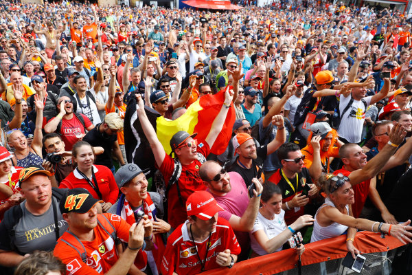 Spa Francorchamps, Belgium.  Saturday 26 August 2017. Fans gather around the stage in the F1 Fanzone. World Copyright: Steven Tee/LAT Images  ref: Digital Image _R3I0413