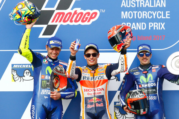 2017 MotoGP Championship - Round 16 Phillip Island, Australia. Sunday 22 October 2017 Podium: race winner Marc Marquez, Repsol Honda Team, second place Valentino Rossi, Yamaha Factory Racing, third place Maverick Viñales, Yamaha Factory Racing World Copyright: Gold and Goose / LAT Images ref: Digital Image 24395