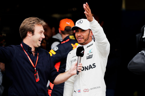 Autodromo Nazionale di Monza, Italy. Saturday 02 September 2017. Davide Valsecci interviews Lewis Hamilton, Mercedes AMG, after he secured a record breaking 69th Pole position. World Copyright: Zak Mauger/LAT Images  ref: Digital Image _56I7628