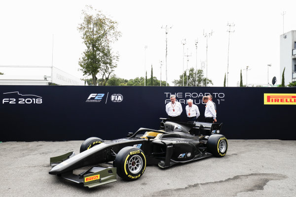 Autodromo Nazionale di Monza, Italy. Thursday 31 August 2017 The new 2018 F2 car is unveiled in the paddock. Photo: Zak Mauger/FIA Formula 2 ref: Digital Image _56I5239