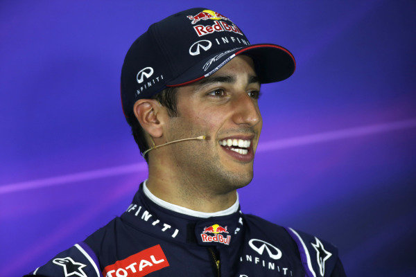 Circuit de Catalunya, Barcelona, Spain. Saturday 10 May 2014. Daniel Ricciardo, Red Bull Racing, in the post qualifying Press Conference. World Copyright: Glenn Dunbar/LAT Photographic. ref: Digital Image _W2Q7227