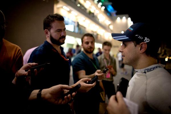 Yas Marina Circuit, Abu Dhabi, United Arab Emirates. Friday 24 November 2017. Felipe Massa, Williams Martini Racing, gies an interview. World Copyright: Glenn Dunbar/LAT Images  ref: Digital Image _31I6541