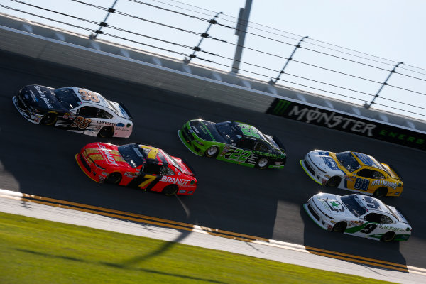NASCAR Xfinity Series PowerShares QQQ 300 Daytona International Speedway, Daytona Beach, FL USA Saturday 17 February 2018 Aric Almirola, Stewart-Haas Racing with Biagi-Denbeste Racing, Smithfield/DenBeste Water Solutions Ford Mustang, Justin Allgaier, JR Motorsports, BRANDT Professional Agriculture Chevrolet Camaro, Joey Logano, Team Penske, Fitzgerald Glider Kits Ford Mustang, Tyler Reddick, JR Motorsports, BurgerFi Chevrolet Camaro, and Chase Elliott, JR Motorsports, Hellmann's Chevrolet Camaro World Copyright: Barry Cantrell LAT Images