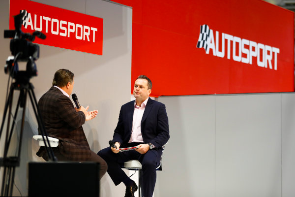 Autosport International Exhibition. National Exhibition Centre, Birmingham, UK. Thursday 11th January 2017. Zak Browb, is interviewed by Henry Hope-Frost, on the Autosport Stage.World Copyright: Ashleigh Hartwell/LAT Images Ref: _R3I6611