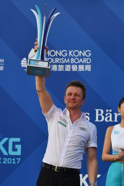 2017/2018 FIA Formula E Championship. Round 2 - Hong Kong, China. Sunday 03 December 2017. Allan McNish, Team Principal, Audi Sport Abt Schaeffler, on the podium. Photo: Mark Sutton/LAT/Formula E ref: Digital Image DSC_5764
