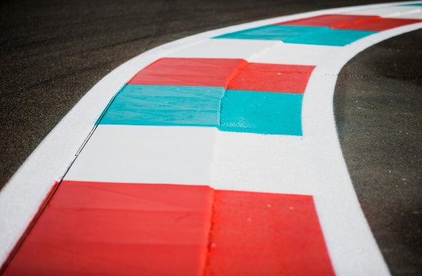 2017 FIA Formula 2 Round 11. Yas Marina Circuit, Abu Dhabi, United Arab Emirates. Thursday 23 November 2017. Kerb details. Photo: Zak Mauger/FIA Formula 2. ref: Digital Image _X0W7347