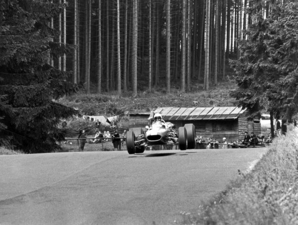 1966 German Grand Prix.Nurburgring, Germany. 7 August 1966.Bob Anderson, Brabham BT11-Climax, retired, action, jump.World Copyright: LAT PhotographicRef: Autosport b&w print