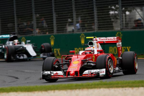 Albert Park, Melbourne, Australia. Saturday 19 March 2016. Kimi Raikkonen, Ferrari SF16-H, leads Lewis Hamilton, Mercedes F1 W07 Hybrid. World Copyright: Charles Coates/LAT Photographic ref: Digital Image _W7W9562