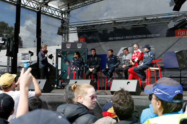 Albert Park, Melbourne, Australia. Friday 18 March 2016. David Coulthard interviews team bosses Monisha Kaltenborn, Team Principal and CEO, Sauber, Toto Wolff, Executive Director (Business), Mercedes AMG, Christian Horner, Team Principal, Red Bull Racing, Guenther Steiner, Team Principal, Haas F1, Mauricio Arrivabene, Team Principal, Ferrari, and Franz Tost, Team Principal, Toro Rosso. World Copyright: Charles Coates/LAT Photographic ref: Digital Image _W7W6739