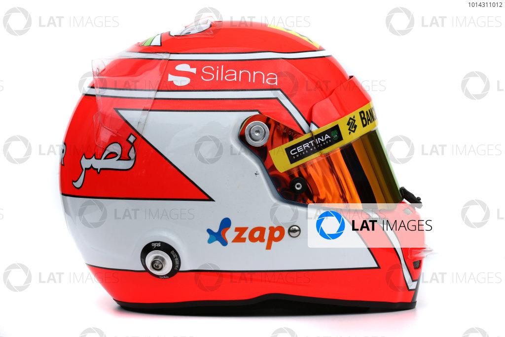 Albert Park, Melbourne, Australia. Helmet of Felipe Nasr, Sauber.  Thursday 12 March 2015. World Copyright: LAT Photographic. ref: Digital Image 2015_Helmet_039