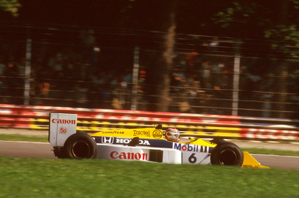 Monza, Italy.4-6 September 1987.Nelson Piquet (Williams FW11B Honda) 1st position.Ref-87 ITA 15.World Copyright - LAT Photographic
