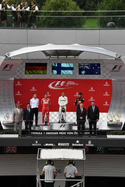 Podium ceremony at Formula One World Championship, Rd9, Austrian Grand Prix, Race, Spielberg, Austria, Sunday 9 July 2017.