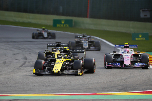 Nico Hulkenberg, Renault R.S. 19, leads Lance Stroll, Racing Point RP19, and Daniel Ricciardo, Renault R.S.19