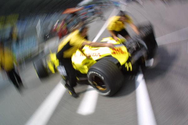 2001 Austrian Grand Prix.A1-Ring, Zeltweg, Austria.11-13 May 2001.Heinz-Harald Frentzen (Jordan EJ11 Honda) is pushed back into the pit garage.World Copyright - LAT Photographicref: 8 9 MB Digital