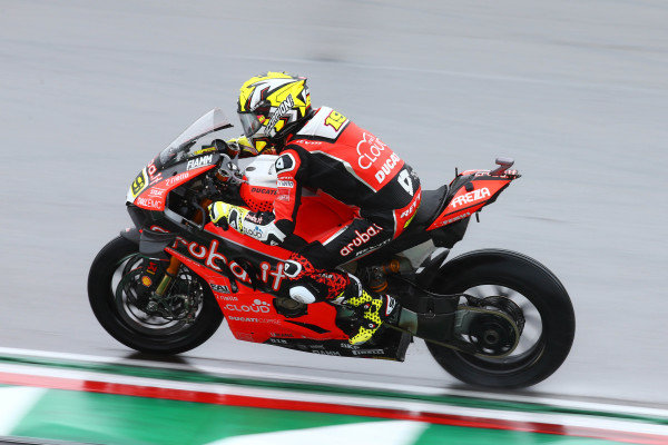 Alvaro Bautista, Aruba.it Racing-Ducati Team on wet assessment laps.