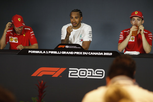 Sebastian Vettel, Ferrari, Lewis Hamilton, Mercedes AMG F1 and Charles Leclerc, Ferrari in Press Conference