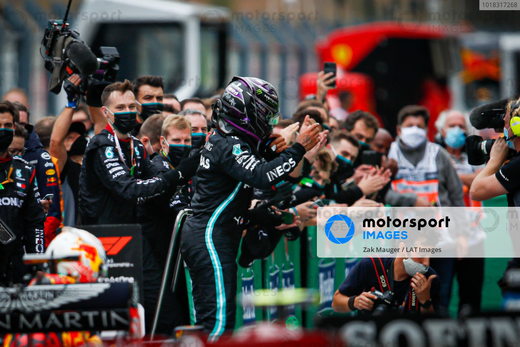 Lewis Hamilton, Mercedes-AMG Petronas F1, 1st position, celebrates in Parc Ferme after securing his record breaking 92nd win