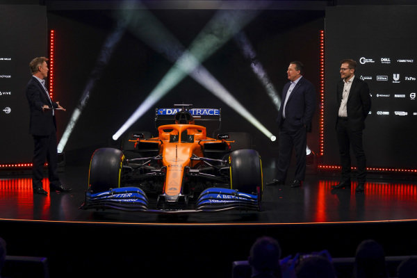 Simon Lazenby, Sky TV, Zak Brown, CEO, McLaren Racing and Andreas Seidl, Team Principal, McLaren, on stage at the launch of the McLaren MCL35