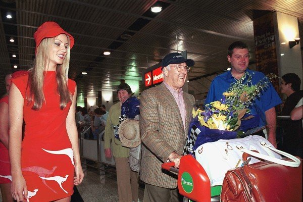Murray Walker and wife Elizabeth arrive at Melbourne