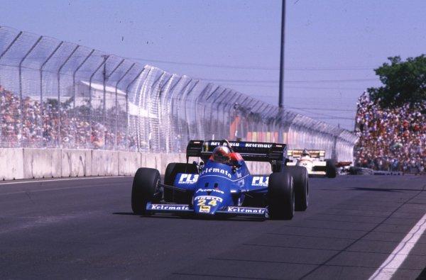 1984 United States Grand Prix.Fair Park, Dallas, Texas, USA.6-8 July 1984.Piercarlo Ghinzani (Osella FA1F Alfa Romeo) 5th position.World Copyright - LAT Photographic