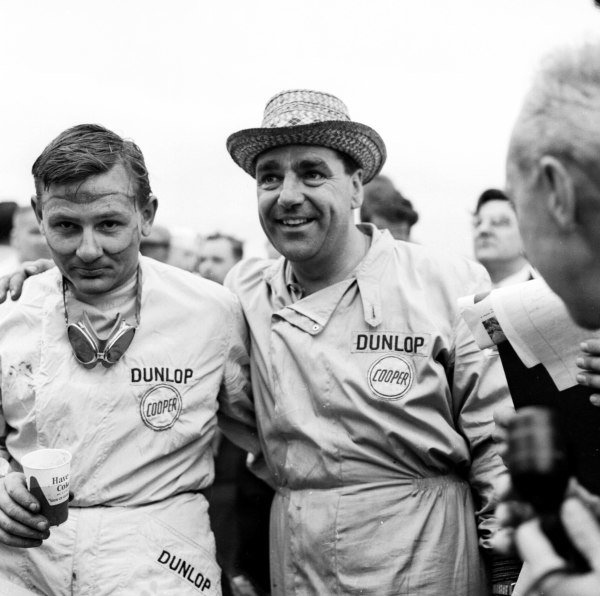 1959 United States Grand Prix.Sebring, Florida, USA.10-12 December 1959.Bruce McLaren and John Cooper celebrate McLaren becoming the youngest driver to win a Grand Prix.Ref-5501.World Copyright - LAT Photographic