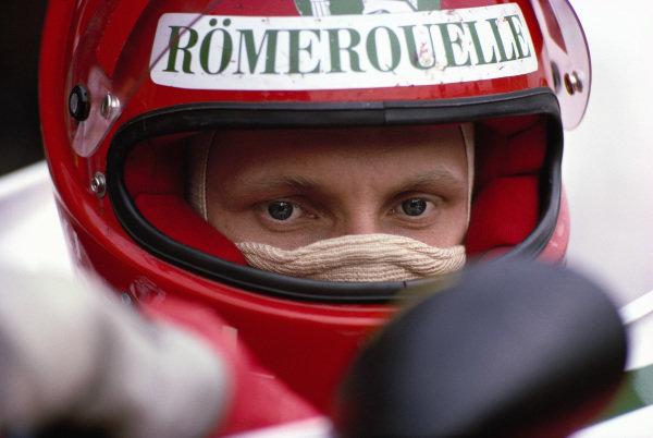 Niki Lauda, during warm-up on Sunday morning.