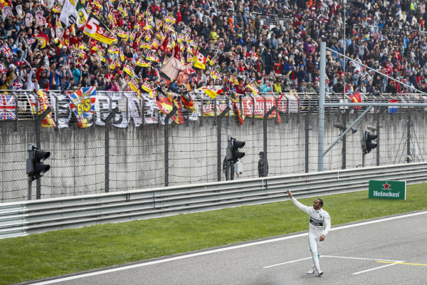 Lewis Hamilton, Mercedes AMG F1 celebrates winning the race in Parc Ferme