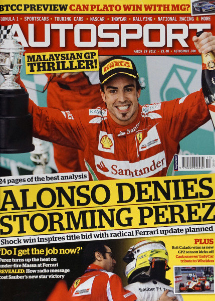 Cover of Autosport magazine, 29th March 2012
