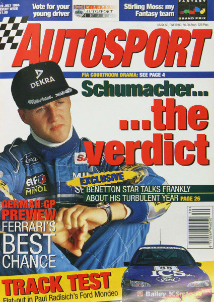 Cover of Autosport magazine, 28th July 1994